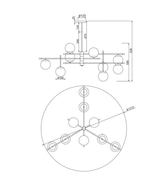 Pakabinamas šviestuvas NOSTALGIA 9 MOD048PL-09G