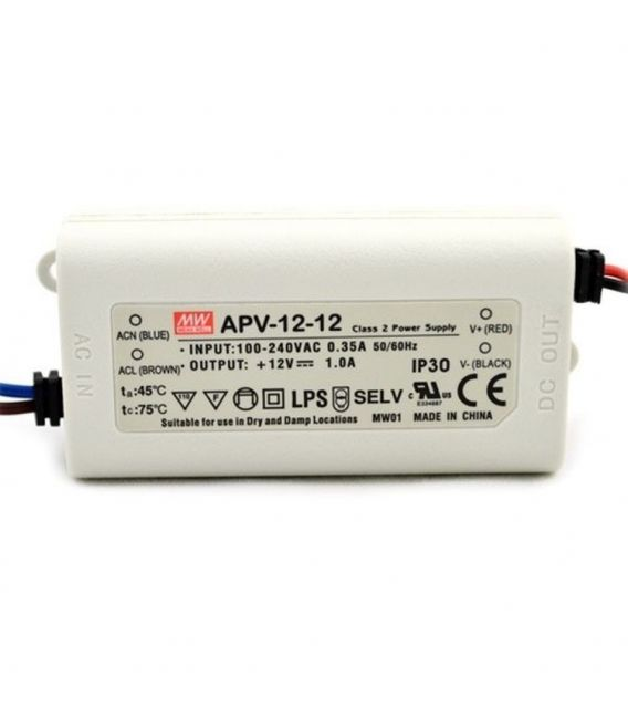 Transformātors APV-12-12 12W 12V 1.00A IP33 APV-12-12.